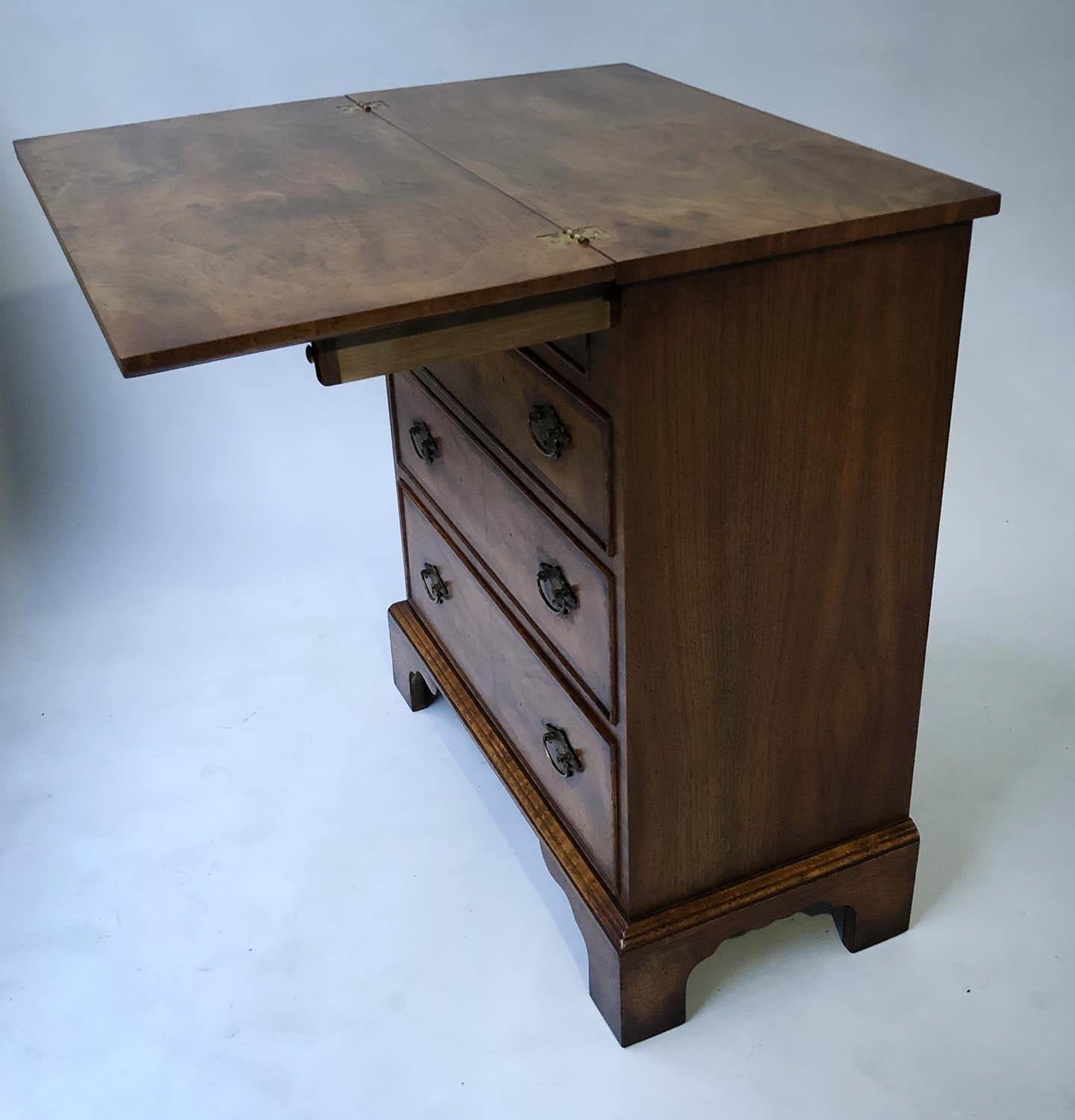 BACHELORS CHEST, George III design burr walnut and crossbanded with foldover top and four long - Image 5 of 5