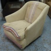 ARMCHAIR, in a striped sacking linen style fabric, 70cm W.
