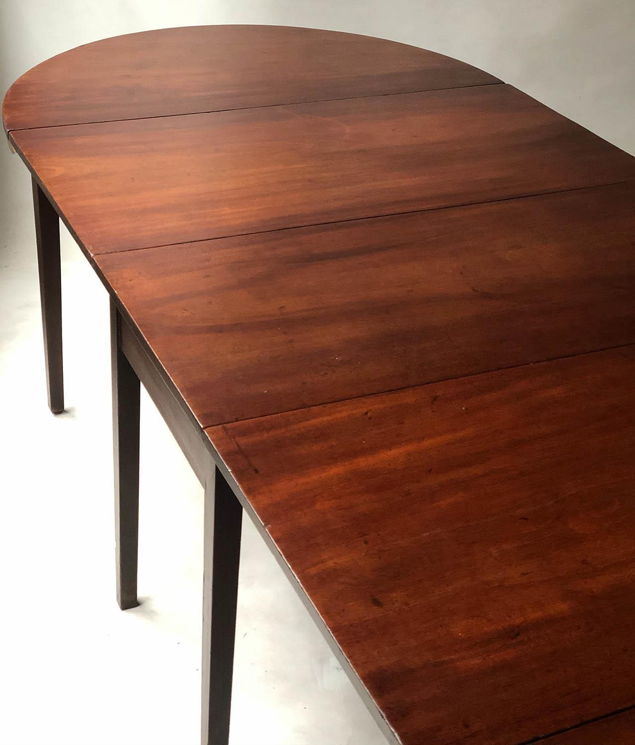DINING TABLE, George III period figured mahogany with twin rounded ends and twin flap centre, - Image 5 of 6