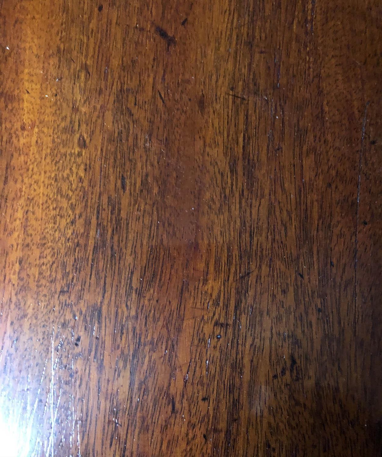 DINING TABLE, George III period figured mahogany with twin rounded ends and twin flap centre, - Image 6 of 6