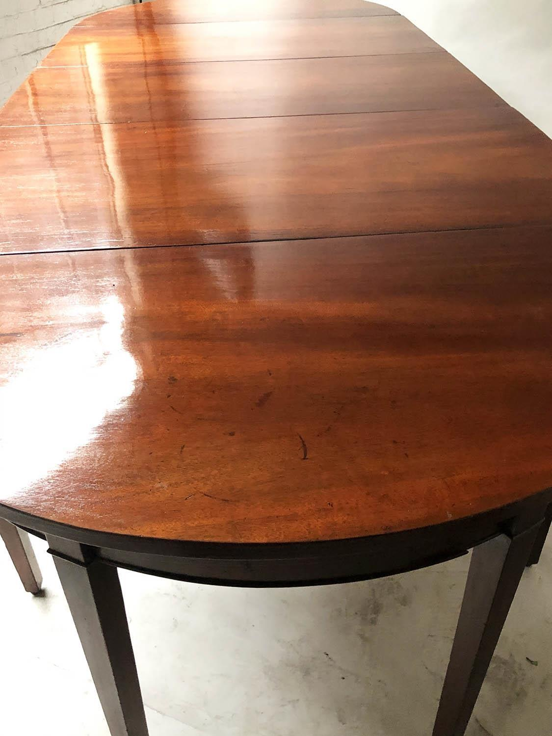 DINING TABLE, George III period figured mahogany with twin rounded ends and twin flap centre, - Image 2 of 6