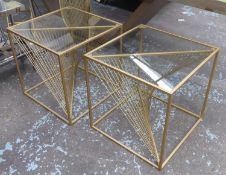 SIDE TABLES, a pair, helix design bases, gilt metal and glass, 52cm x 52cm x 52cm. (2)