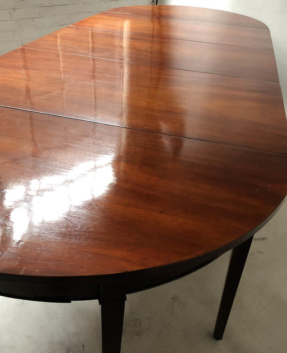 DINING TABLE, George III period figured mahogany with twin rounded ends and twin flap centre, - Image 4 of 6
