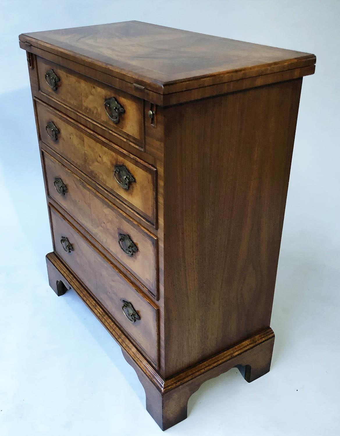 BACHELORS CHEST, George III design burr walnut and crossbanded with foldover top and four long - Image 3 of 5