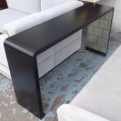 TAYLOR HOWES BESPOKE CONSOLE TABLE, of curved form, 35cm D x 78cm H x 145cm W.