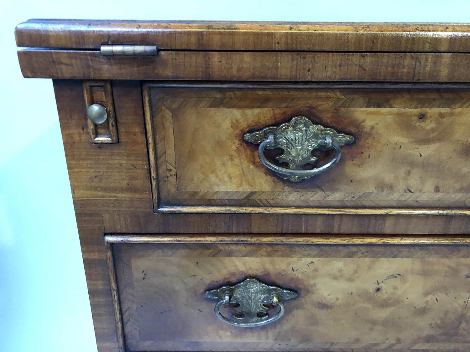 BACHELORS CHEST, George III design burr walnut and crossbanded with foldover top and four long - Image 2 of 5