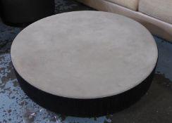 LOW TABLE, contemporary Italian style design, 25cm H x 103cm Diam approx. (slight faults)