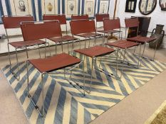 AFTER ENZO MARI DELFINA STYLE STACKING DINING CHAIRS, a set of eight, vintage Italian leather with