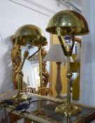 DESK LAMPS, a pair, articulating, gilt metal, 60cm H at tallest approx. (2)