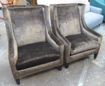 ARMCHAIRS, a pair, with brown upholstery and studded detail, 74cm W. (2) (with faults)