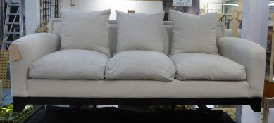 SOFA, three seater, with oatmeal upholstery and studded decoration, 220cm L x 82cm H. (a few marks