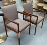 OPEN ARMCHAIRS, a pair, vintage 1970's Danish, 55.5cm W. (2) (with faults)
