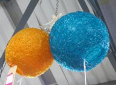 SPUN RESIN CEILING PENDANT LIGHTS, a set of two, vintage 1970's, (purchased from Talisman), 40cm