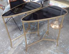 SIDE TABLES, a pair, 1960's Italian style, smoked glass tops, 70cm x 36cm x 70cm. (2)