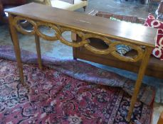 CONSOLE TABLE, of naturalistic design with hoop decoration, 137cm L x 87cm H x 40cm D. (with faults)