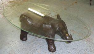 ELEPHANT LOW TABLE, contemporary, glass top, 61cm x 122cm x 42cm.