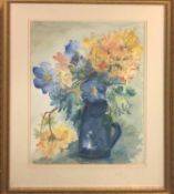 SHEILA CAVELL HICKS (Cornwall 1916-2008) 'Azalea and the Blue Blossoms', watercolour, signed,