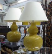 TABLE LAMPS, a pair, contemporary Gourd vase design, with shades, 66cm H. (2)