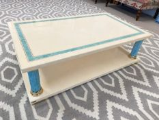 MAVILLE INTERIORS FRANCE LOW TABLE, 1970's lacquer, faux turquoise marble and brass collared with