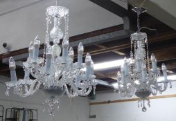 CHANDELIERS, a pair, contemporary crystal, 100cm drop. (2)