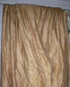 CURTAINS, two pairs, gold silk, lined and interlined, one pair each curtain 130cm W x 300cm drop,