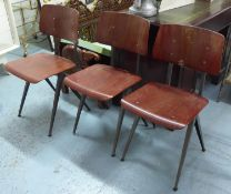 GALVANITAS S17 DESIGN SCHOOL CHAIRS, a set of four, 81cm H. (4) (with faults)