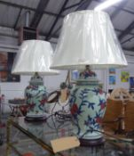 TABLE LAMPS, a pair, with a design inspired by a vase in the Ashmolean Museum, with shades, 69cm H