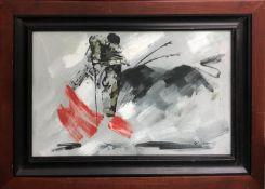 R. JORDAN 'Toreador', oil on board, 33cm x 53cm, signed, framed.