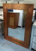 WALL MIRROR, coppered finish frame, 122cm x 91cm.