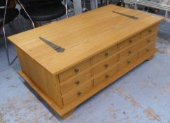 LOW TABLE, contemporary ash, with bank of drawers to one side and lift up top, 118cm x 66cm x 43cm.