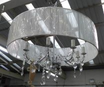CHANDELIER, contemporary design, eight branch, with shade, 120cm drop approx.
