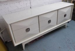SIDEBOARD, contemporary, white lacquered finish, 198cm x 48cm x 78cm (slight faults).