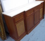 SIDEBOARD, breakfront design, marble top, rattan detail, 195.5cm x 52cm x 92cm (slight faults)