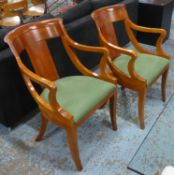 DINING CHAIRS, a set of four, contemporary cherrywood, 87cm H approx. (slight faults)