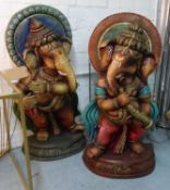 GANESH, a collection of two, polychrome finish, 82cm H. (2)