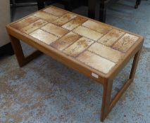 LOW TABLE, vintage 1970s, tile top, indistinctly stamped underneath, 95.5cm x 45cm x 40cm.