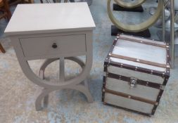 TRUNK AND SIDE TABLE, Aviator style with a square rising top, 40cm square x 45cm H and a grey side