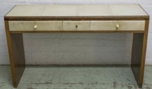 DESK, Art Deco walnut and vellum with three drawers and ivory handles, 74cm H x 125cm x 42cm. (
