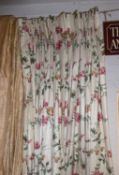 CURTAINS, a pair, vintage floral chintz lined, 130cm W x 200cm drop. (2)