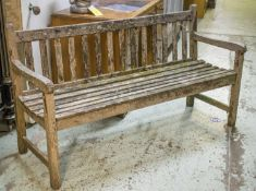 GARDEN BENCH, weathered teak, 153cm W. (with faults)