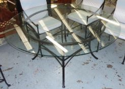 DINING TABLE, matches previous lot, black painted metal base, glass top, 153cm diam x 73cm H.