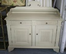 SIDE CABINET, Gustavian style cream painted with two drawers above two doors, 112cm H x 122cm x