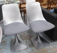 DINING CHAIRS, a set of six, contemporary cantilever design, 87cm H. (6) (slight faults)