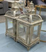 LANTERNS, a pair, distressed finish, 68cm H. (2)