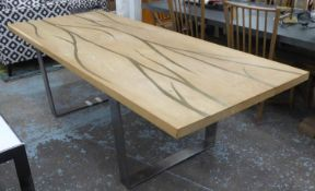 DINING TABLE, contemporary design, with veined inlaid detail, on metal supports 240cm x 100cm x