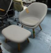 LOUNGE CHAIR AND STOOL, contemporary design, tallest 81cm approx. (2) (slight faults)