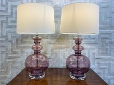 COACH HOUSE TABLE LAMPS, a pair, glass with perspex bases and shades, 75cmH. (2)