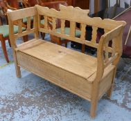 BENCH, Swedish style pine, with lift up lid reveling underseat storage, 126cm W (slight faults).