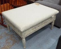 FOOTSTOOL, with an upholstered seat on a distressed cream painted base, 92cm x 72cm x 52cm. (