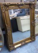 WALL MIRROR, Continental style gilt frame, 119cm x 88.5cm.